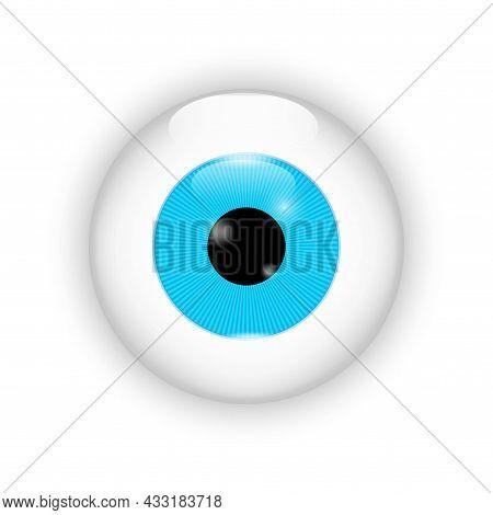 Realistic Blue Eyeball Icon. Illustration Close Up On White Backdrop. Hand Drawn. Vector Illustratio