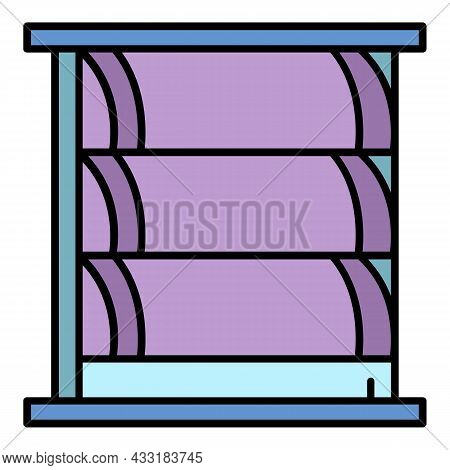 Big Window Shutter Icon. Outline Big Window Shutter Vector Icon Color Flat Isolated On White