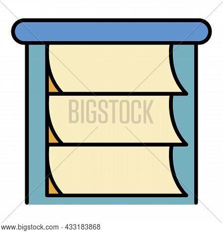 Paper Horizontal Jalousie Icon. Outline Paper Horizontal Jalousie Vector Icon Color Flat Isolated On