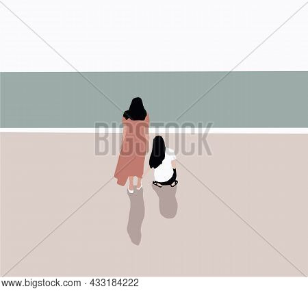 Two Women Sitting On The Beach And Looking At Sea. Recreation And Tourism Concept. Ocean Waves, Blue