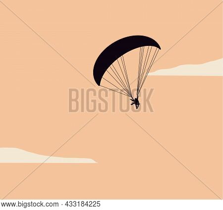 Silhouettes Parachuting During Sunset Sky Vector Illustration. Skydiving, Paragliding Experience. Ex