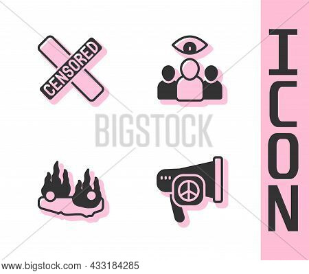 Set Peace, Censored Stamp, Burning Car And Spy, Agent Icon. Vector