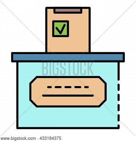 Ballot Box Icon. Outline Ballot Box Vector Icon Color Flat Isolated On White
