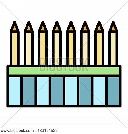 Drawing Pen Pack Icon. Outline Drawing Pen Pack Vector Icon Color Flat Isolated On White