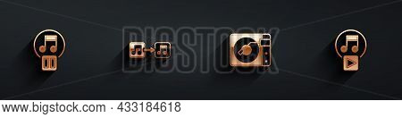 Set Pause Button, Music Note, Tone, Vinyl Player With Vinyl Disk And Play Square Icon With Long Shad