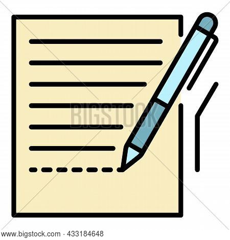 Pen Homework Paper Icon. Outline Pen Homework Paper Vector Icon Color Flat Isolated On White