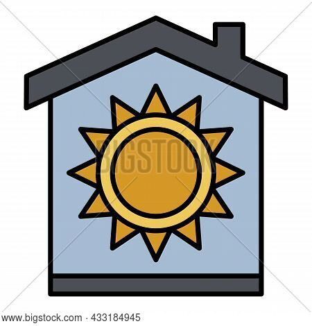Conditioner Summer Mode Icon. Outline Conditioner Summer Mode Vector Icon Color Flat Isolated On Whi
