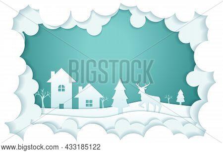 House Deer Tree Cloud Winter Papercut Paper Cut Style Illustration
