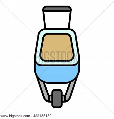 Front Wheelbarrow Icon. Outline Front Wheelbarrow Vector Icon Color Flat Isolated On White