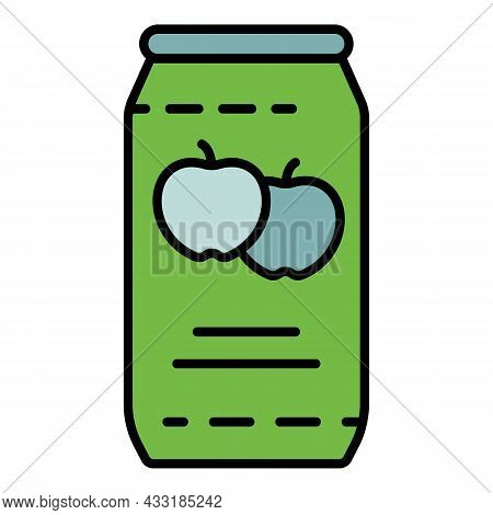 Apple Juice Tin Can Icon. Outline Apple Juice Tin Can Vector Icon Color Flat Isolated On White