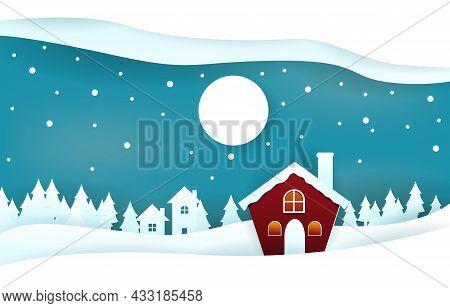 Snow House Pine Trees Winter Papercut Paper Cut Style Illustration