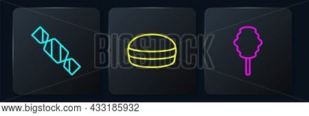 Set Line Candy, Cotton Candy And Macaron Cookie. Black Square Button. Vector