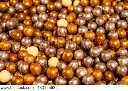 Colorful Candies, Selective Focus. Gold, Silver, Chocolate And White Candies, Heap Of Candies For Ba