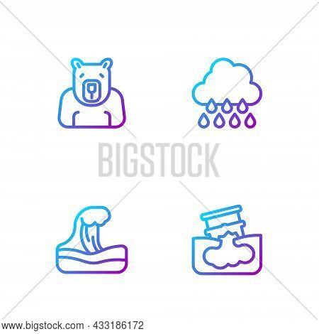 Set Line Barrel Oil Leak, Tsunami, Polar Bear Head And Cloud With Rain. Gradient Color Icons. Vector