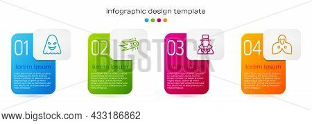 Set Line Ghost, Fireball, Magician And Mantle, Cloak, Cape. Business Infographic Template. Vector