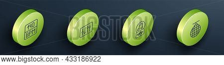 Set Isometric Line Bitrate, Sound Mixer Controller, Music Note, Tone And Disco Ball Icon. Vector
