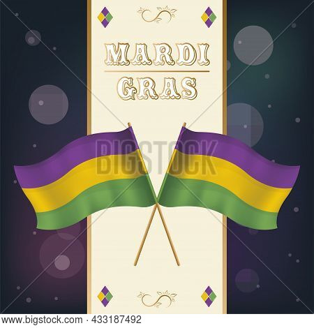 Pair Of Colored Flags Mardi Gras Poster Vector Illustration