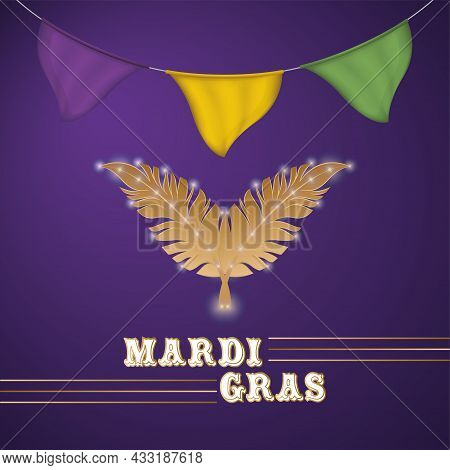 Pair Of Feathers On A Colored Mardi Gras Poster Vector