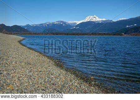 Squamish Estuary And Mt. Garibaldi. The View Of Mt. Garibaldi Looking Over The Squamish Estuary At T