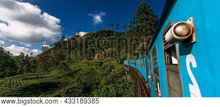 Blue Train In Sri Lanka, Panorama. Train From Ella In Nuwara Eliya In Sri Lanka Island. Travel To Sr