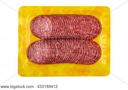 Slices Of Sausage Salami In Vacuum Package Isolated On White Background. Top View