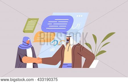 Arab Businesspeople Shaking Hands Together Business Partners Handshake Partnership Teamwork Concept