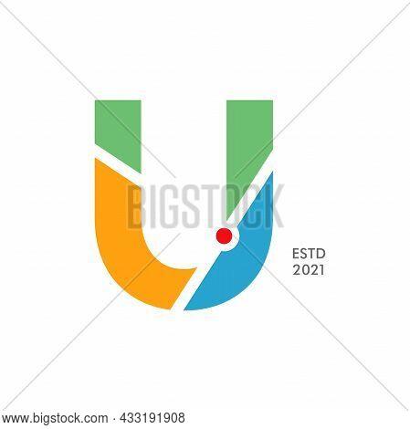 Simple And Modern Illustration Logo Design Initial U Map.