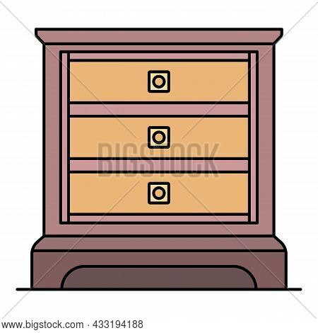 Classic Nightstand Icon. Outline Classic Nightstand Vector Icon Color Flat Isolated On White
