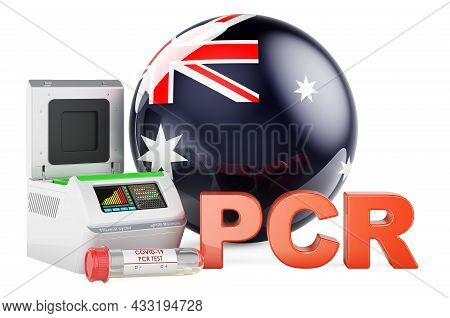Pcr Test For Covid-19 In Australia, Concept. Pcr Thermal Cycler With Australian Flag, 3d Rendering I