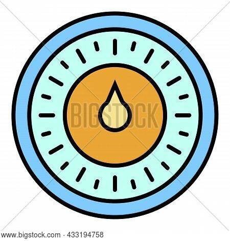 Round Retro Timer Icon. Outline Round Retro Timer Vector Icon Color Flat Isolated On White