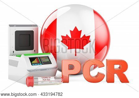 Pcr Test For Covid-19 In Canada, Concept. Pcr Thermal Cycler With Canadian Flag, 3d Rendering Isolat