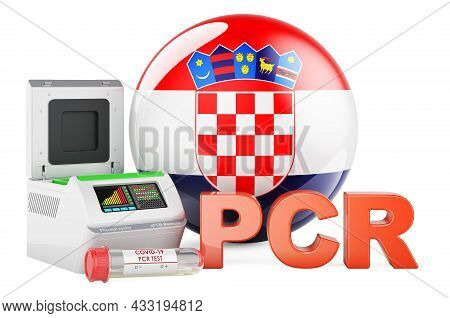 Pcr Test For Covid-19 In Croatia, Concept. Pcr Thermal Cycler With Croatian Flag, 3d Rendering Isola