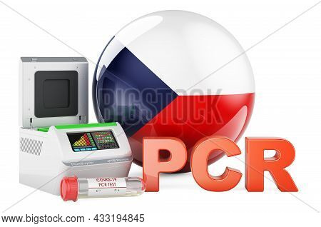 Pcr Test For Covid-19 In Czech Republic, Concept. Pcr Thermal Cycler With Czech Flag, 3d Rendering I