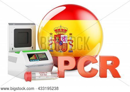 Pcr Test For Covid-19 In Spain, Concept. Pcr Thermal Cycler With Spanish Flag, 3d Rendering Isolated