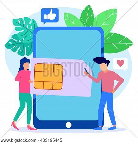 Modern Style Vector Illustration, People Around Big Cell Phone, Mobile Sim Card, Microcircuit, Cell
