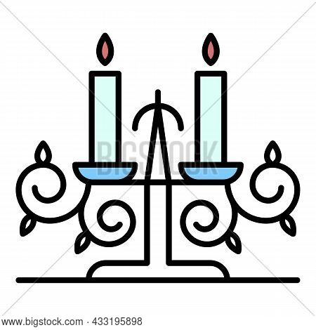 Anvil Candle Support Icon. Outline Anvil Candle Support Vector Icon Color Flat Isolated On White