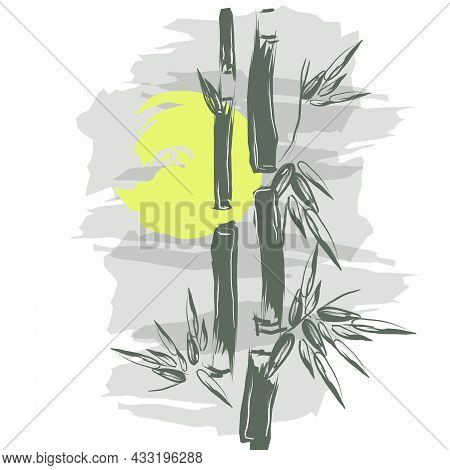 Hand Drawn Vector Illustration With Bamboo. Stock Vector Illustration