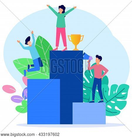 Vector Illustration Of Business Concept, Business People Climbing The Corporate Ladder. Job Hierarch