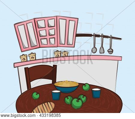 Vector Kitchen Illustration. Cozy Kitchen. Cartoon Interior. Pink Kitchen Set. Wooden Kitchen Table.