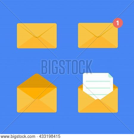 Opened And Closed Golden Yellow Envelope Flat Design Vector Illustration Set. Closed, New Message, E