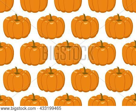 Seamless Pattern With Pumpkins. Festive Autumn Decoration For Halloween And Thanksgiving Day. Holida