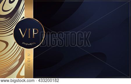 Vectors Vip Card. Gold Card. Blue Lilac Gradient Geometric. Background With Gold Lettering Invitatio