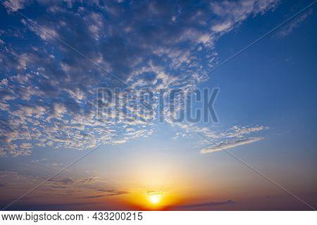Beautiful Sun Ray In Nature. Golden Sunshine In Sunrise