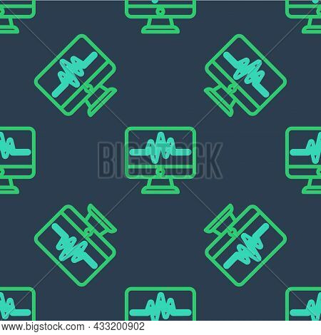 Line Computer Monitor With Cardiogram Icon Isolated Seamless Pattern On Blue Background. Monitoring