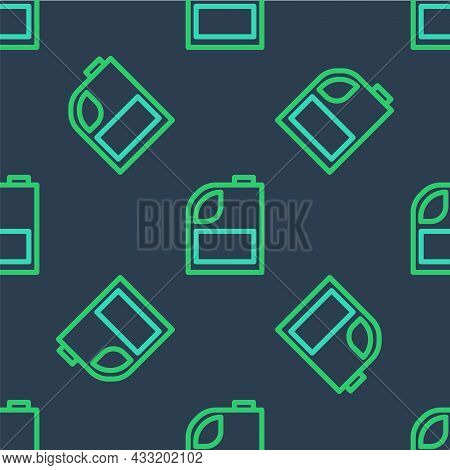 Line Canister For Motor Machine Oil Icon Isolated Seamless Pattern On Blue Background. Oil Gallon. O