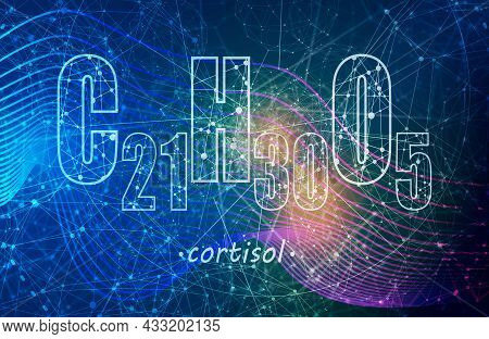 Steroid Hormone Cortisol On Connected Lines With Dots Backdrop