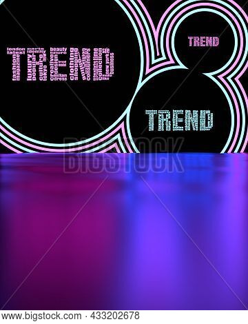 Fashion Relative Keywords Neon Shine Tags Cloud