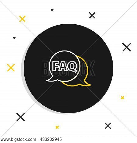 Line Speech Bubble With Text Faq Information Icon Isolated On White Background. Circle Button With T