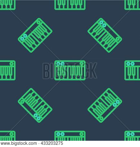 Line Music Synthesizer Icon Isolated Seamless Pattern On Blue Background. Electronic Piano. Vector