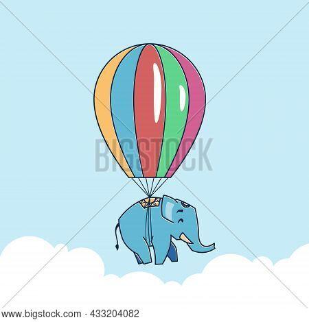 Big Elephant Flying Floating Hot Air Balloon Zoo Cartoon Character